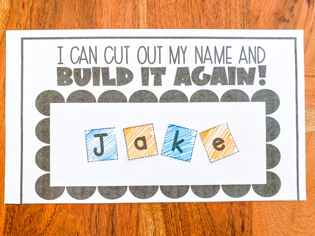 cut out your name and glue it back together like a puzzle