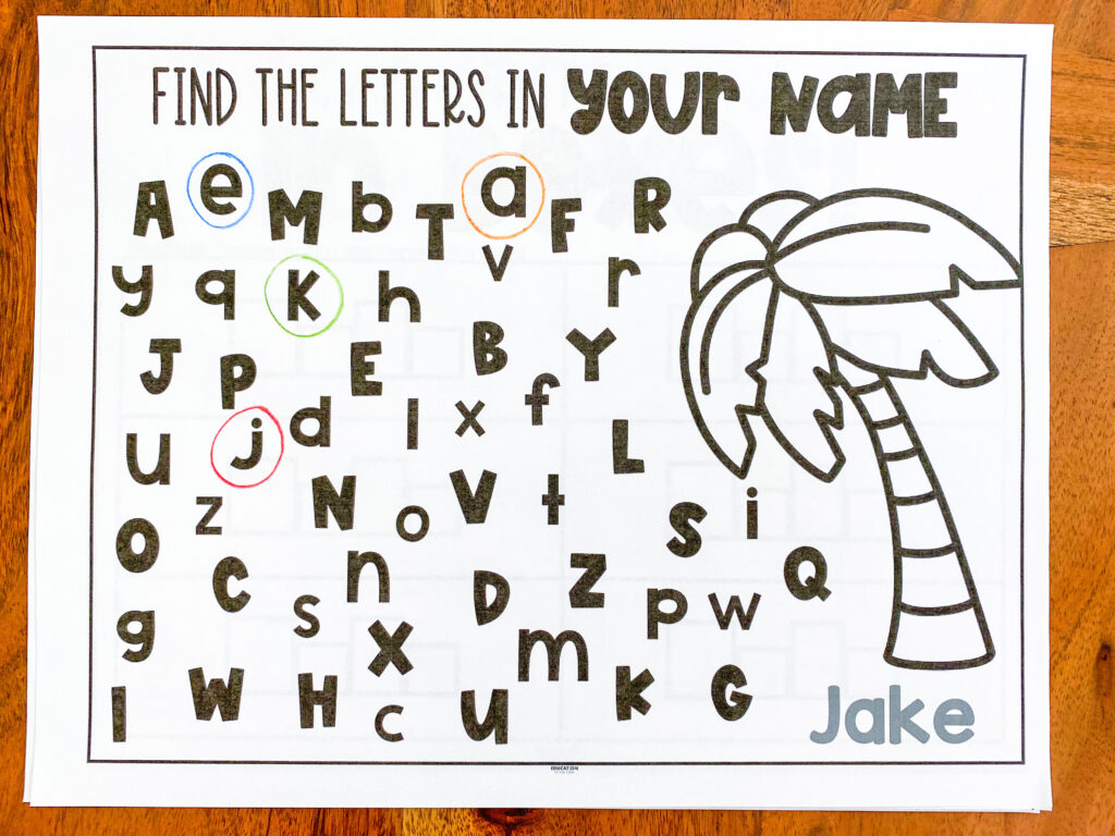 find and circle the letters in your name