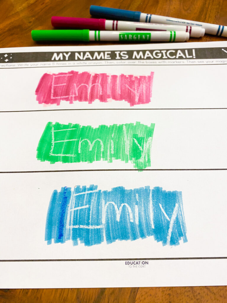 write your name in white crayon and color over it with marker to reveal