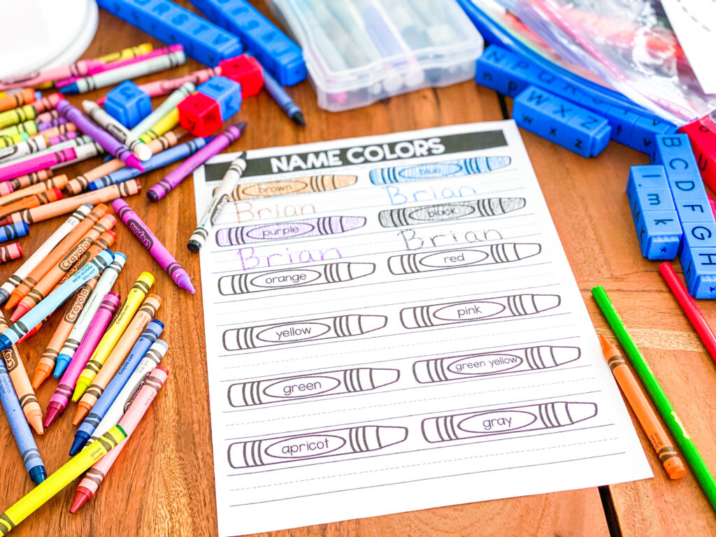 practice color words and writing your name