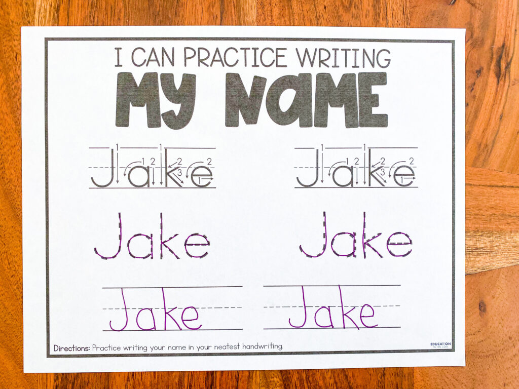 practice writing your name in your best handwriting