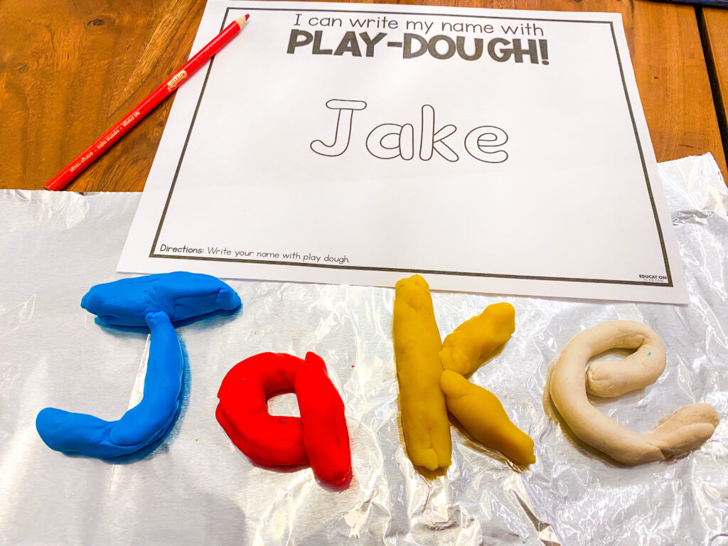 create your name in play dough