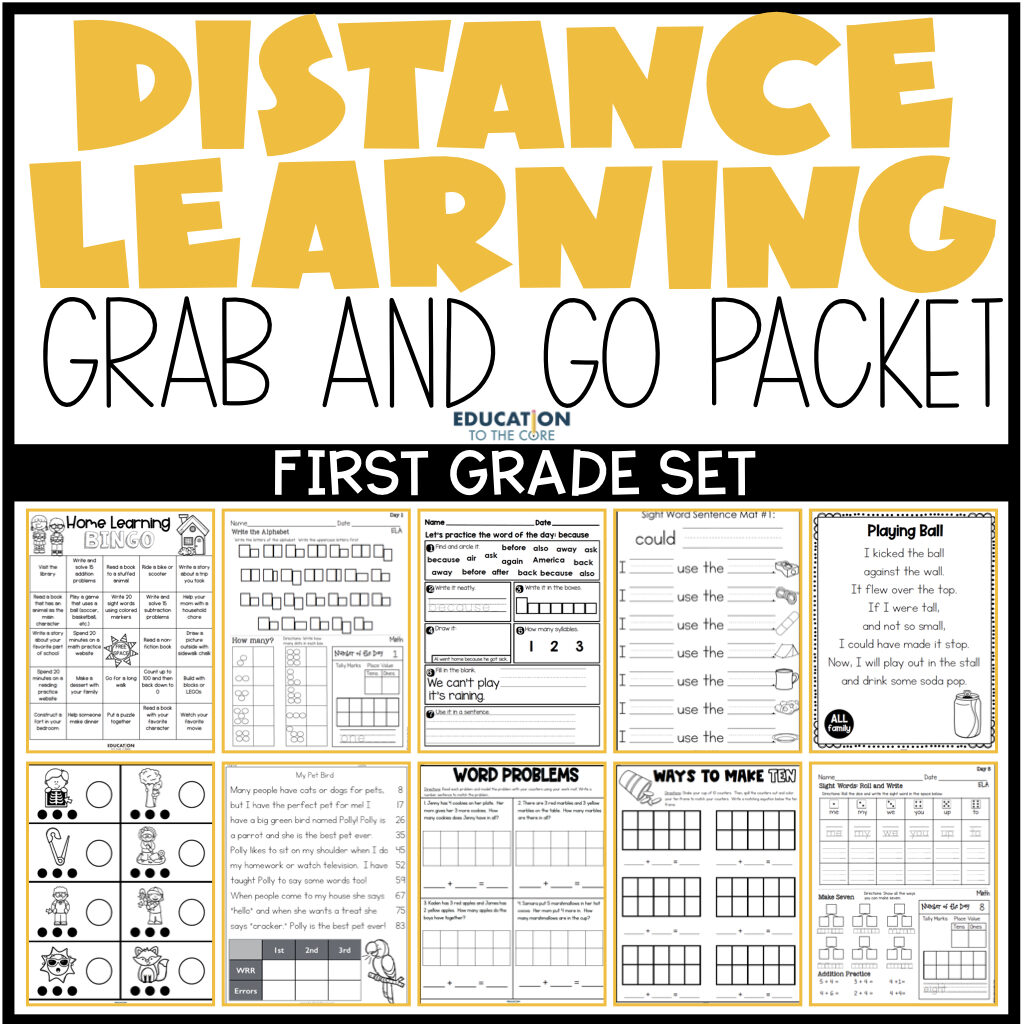 first grade distance learning packet resources