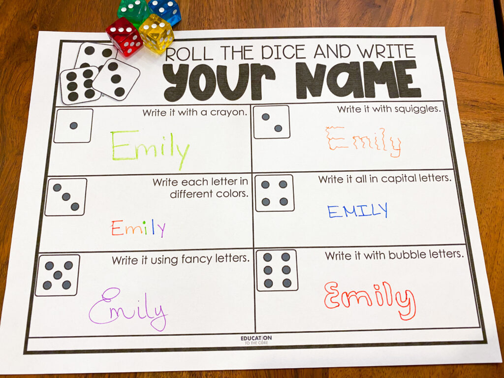 roll the dice and write your name in different ways