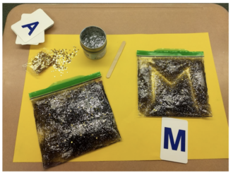 mix hair gel with glitter and food coloring in a ziplock bag, so students can practice writing without a pencil on the bag