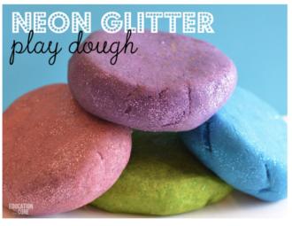 neon glitter play dough recipe
