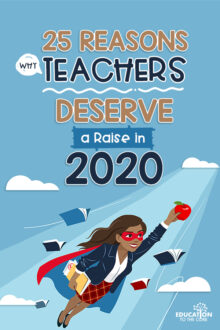 Graphic with 25 Reasons Why Teachers Deserve a Raise in 2020