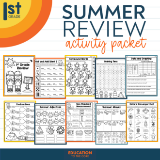 Summer Review Activity Packet for 1st Grade