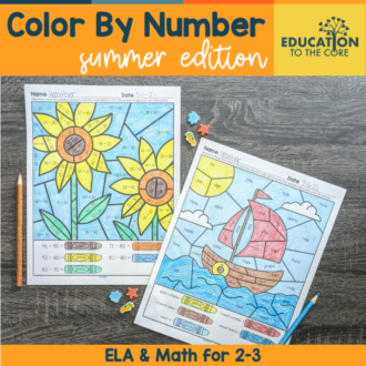 Summer Color By Number for 2-3