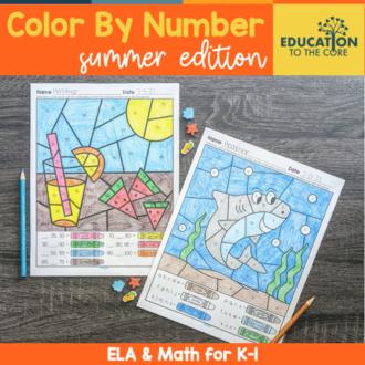 Summer Color By Number for K-1