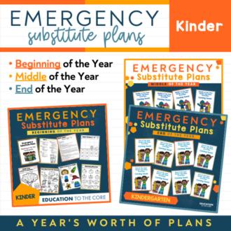 Kindergarten EDITABLE Sub Plans | GROWING BUNDLE!