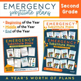 Second Grade EDITABLE Sub Plans | GROWING BUNDLE!