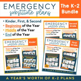 Kinder, First, & Second Grade Bundled EDITABLE Sub Plans | GROWING BUNDLE!