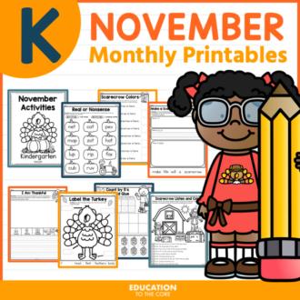 November Packet for Kindergarten | Monthly Activities | November Morning Work