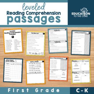 Leveled Reading Comprehension Passages Levels C-K | First Grade