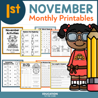 November Packet for First Grade | Monthly Activities | November Morning Work