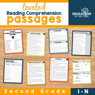 Leveled Reading Comprehension Passages Levels I-N | Second Grade