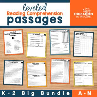 Leveled Reading Comprehension Passages Levels A-N | K-2 Bundle